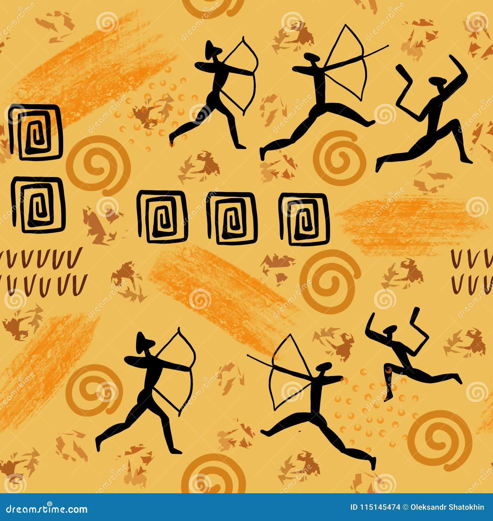 Illistration der Felsenmalerei Höhlen Sie Zeichnungen Mann und der ursprünglichen nahtloses Muster Steinzeitaltermalereien der Ti
