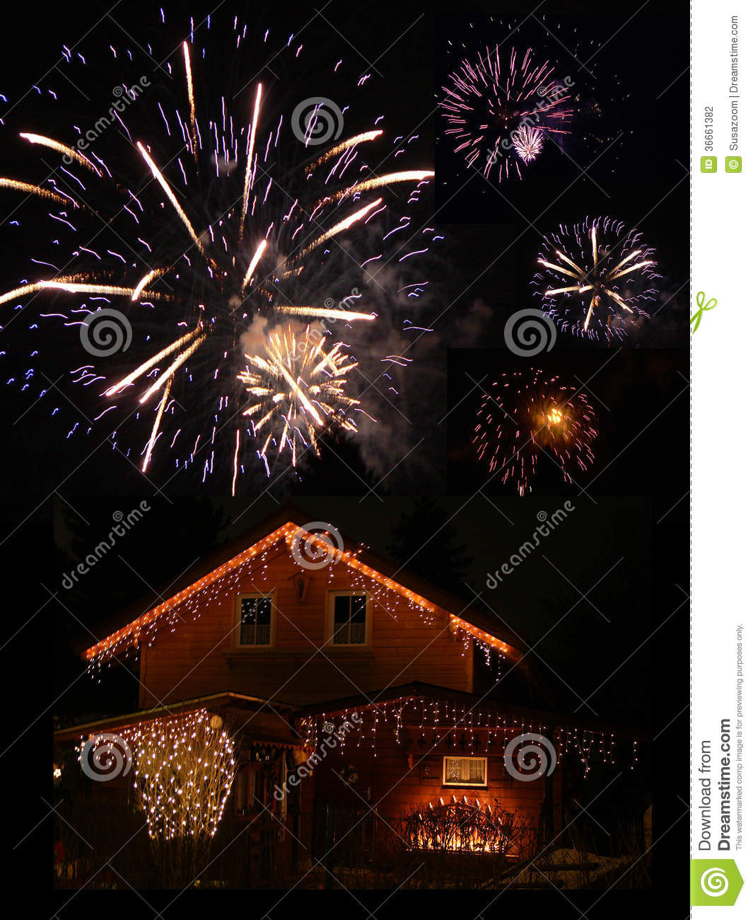 Illuminated Barn And Fireworks At New Years Eve Stock ...