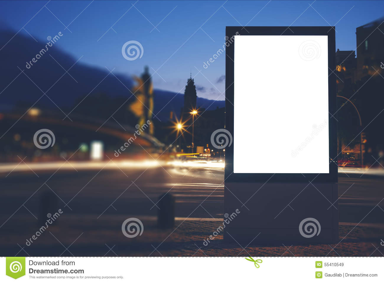 Illuminated Blank Billboard With Copy Space For Your Text