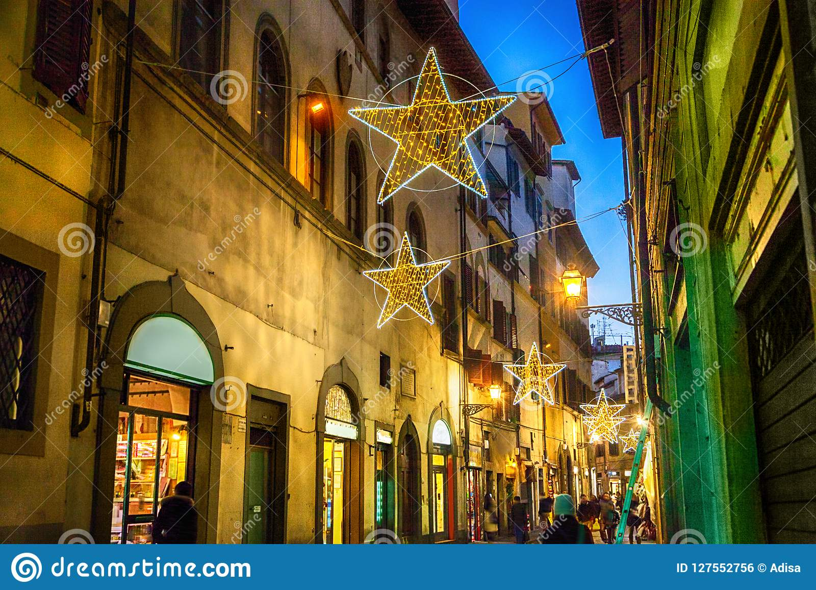 Christmas In Florence Italy.Illuminated Christmas Street In Florence Stock Photo Image