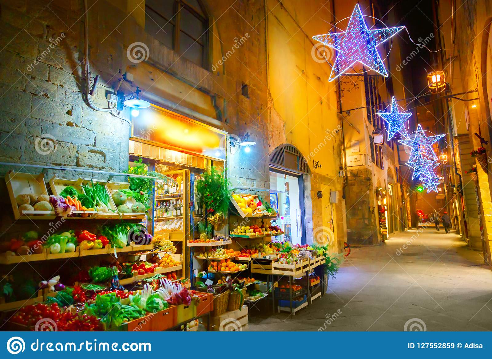 Christmas In Florence Italy.Illuminated Christmas Street In Florence Stock Image Image