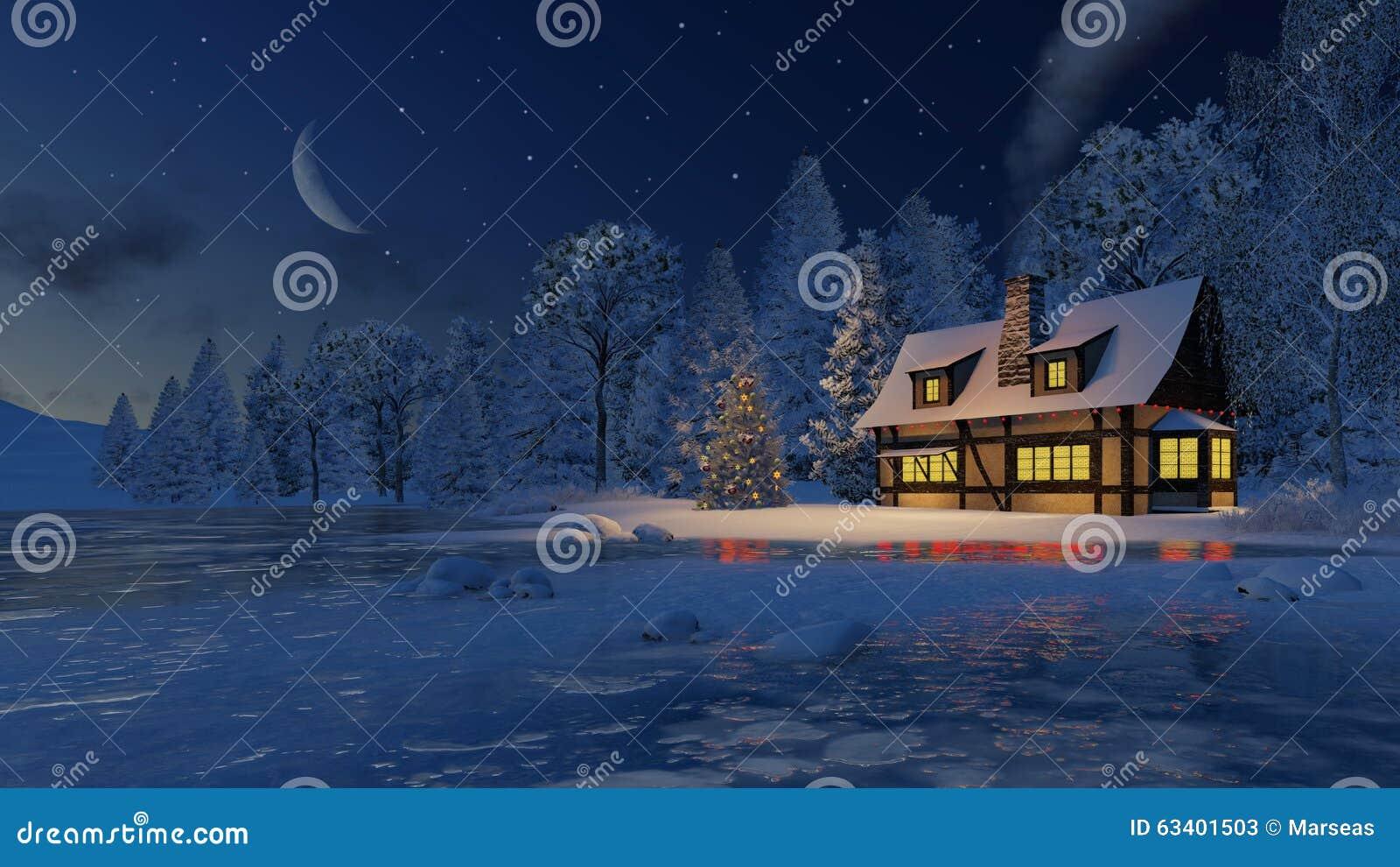 Illuminated House And Christmas Tree At Moonlight Night