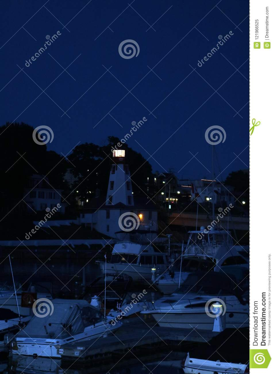 Kincardine Lighthouse Lights Up The Night Stock Image - Image of