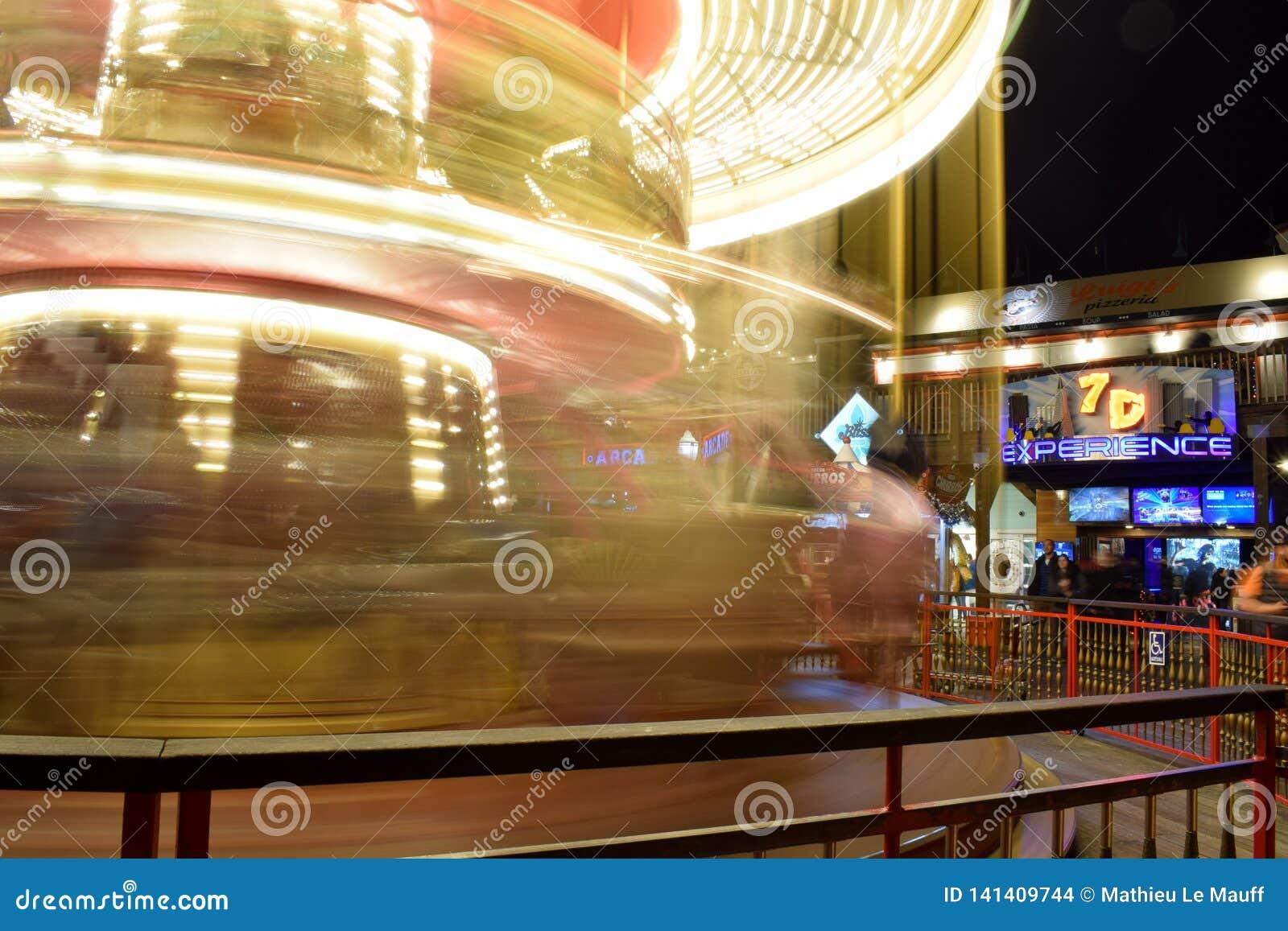 Illuminated Merry Go Round in San Francisco - Long Exposure