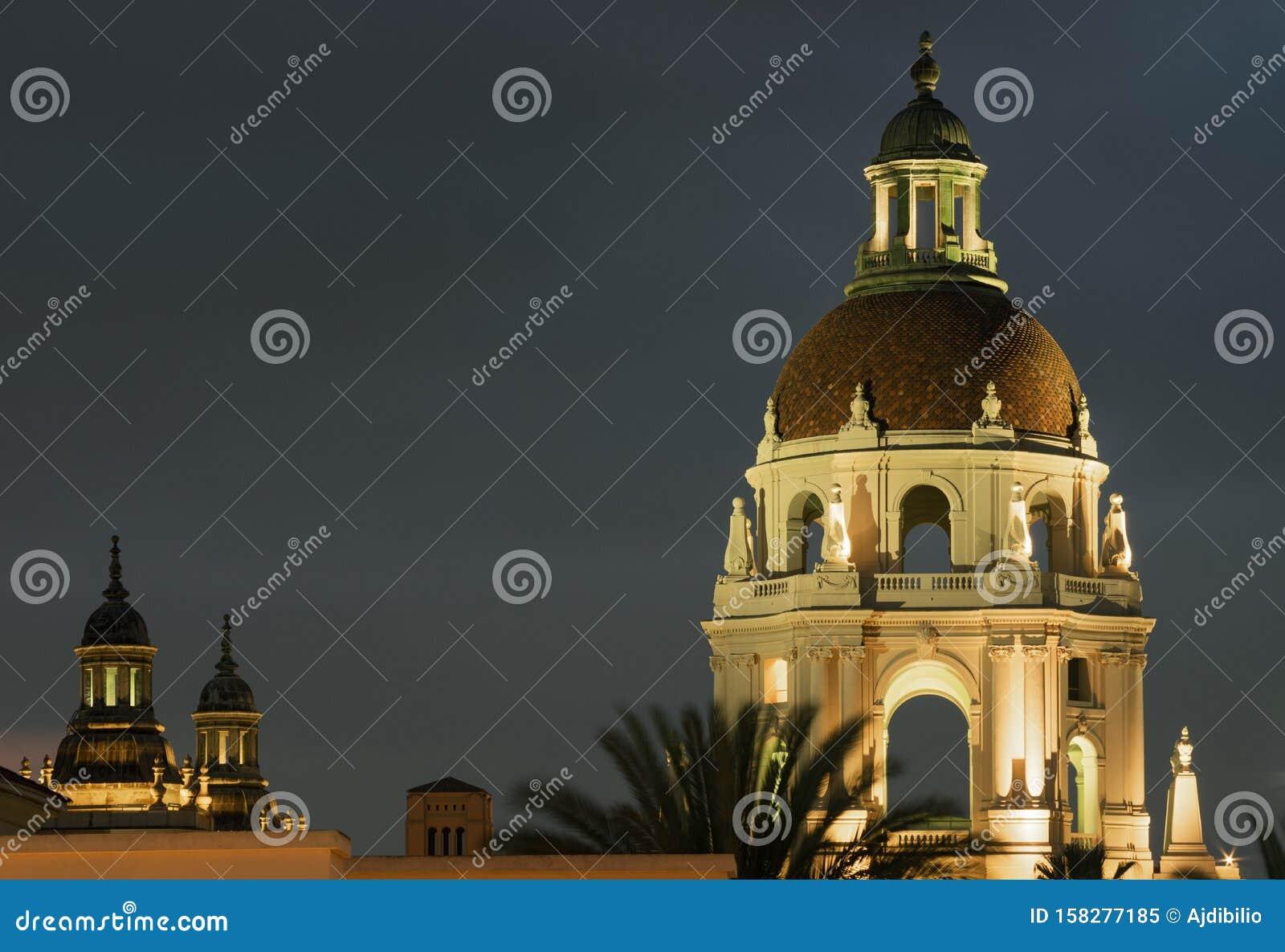 Illuminated Pasadena City Hall Dome and Towers