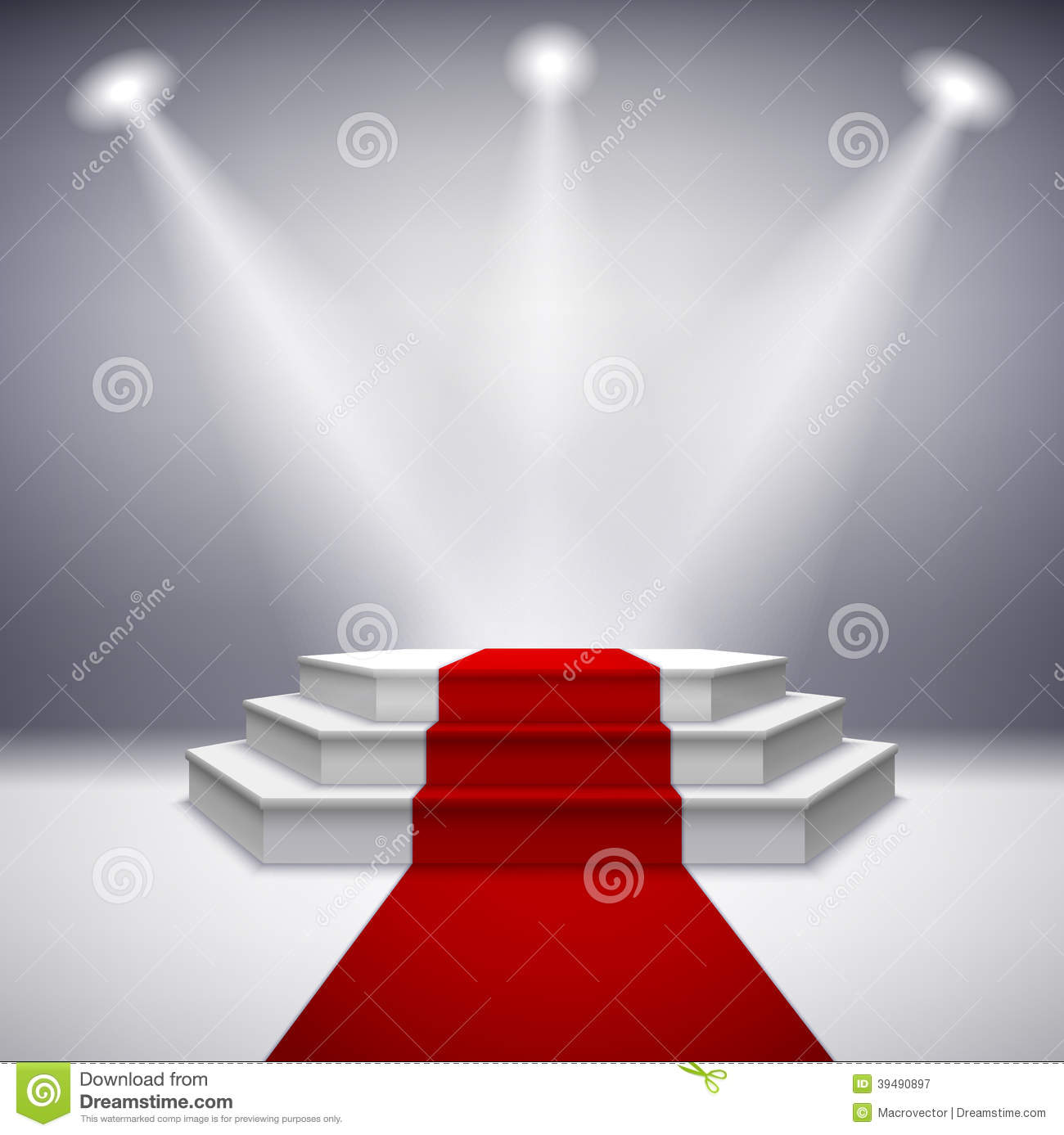 Illuminated Stage Podium With Red Carpet Stock Vector