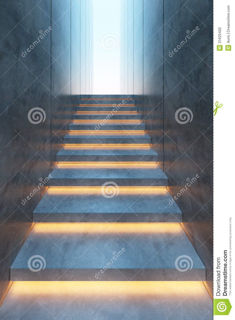 Lighting Basement Washroom Stairs: Illuminated Stairs Stock Photo. Image Of Minimal, Concrete