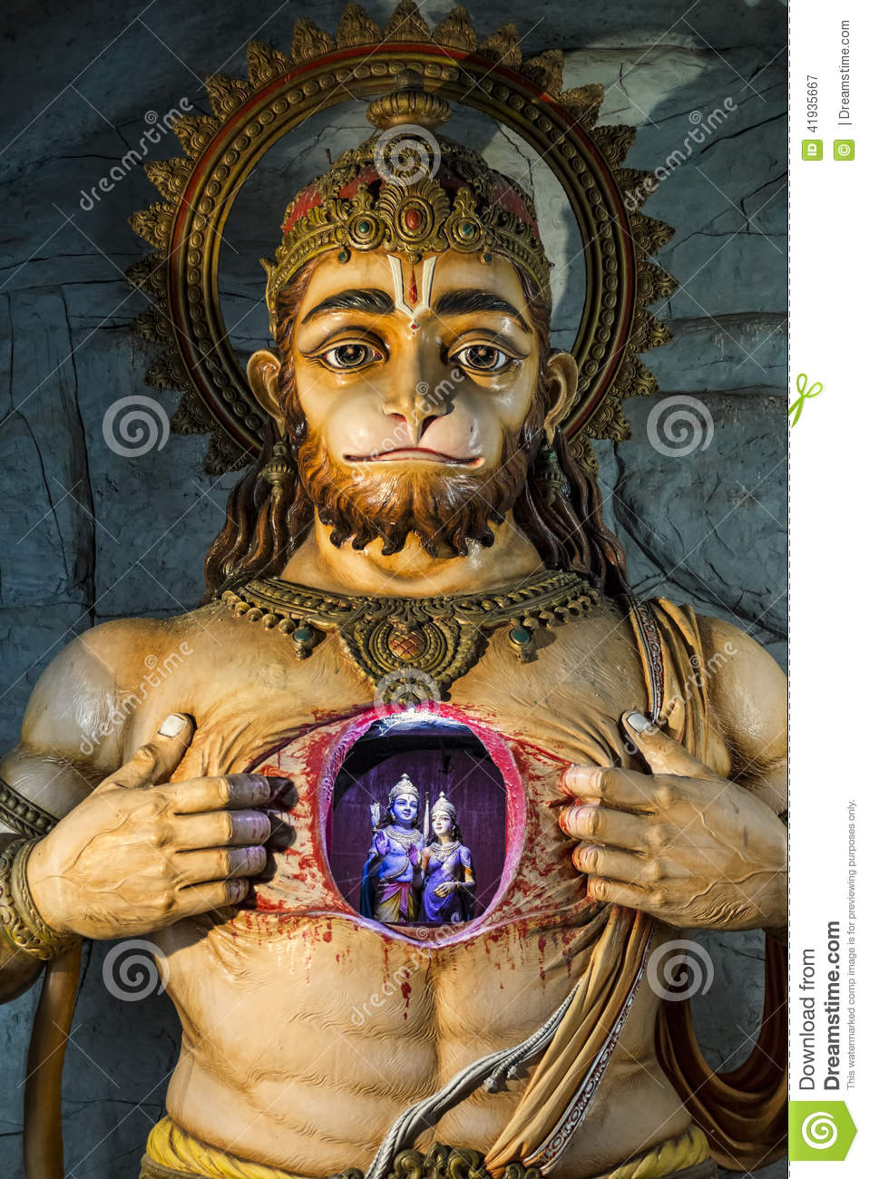 Illuminated Statue Of Hanuman Showing Rama And Sita Stock Image Image 41935667