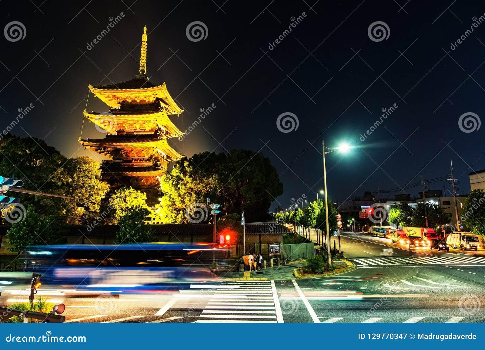 Illuminated Toji Temple in Kyoto, Japan