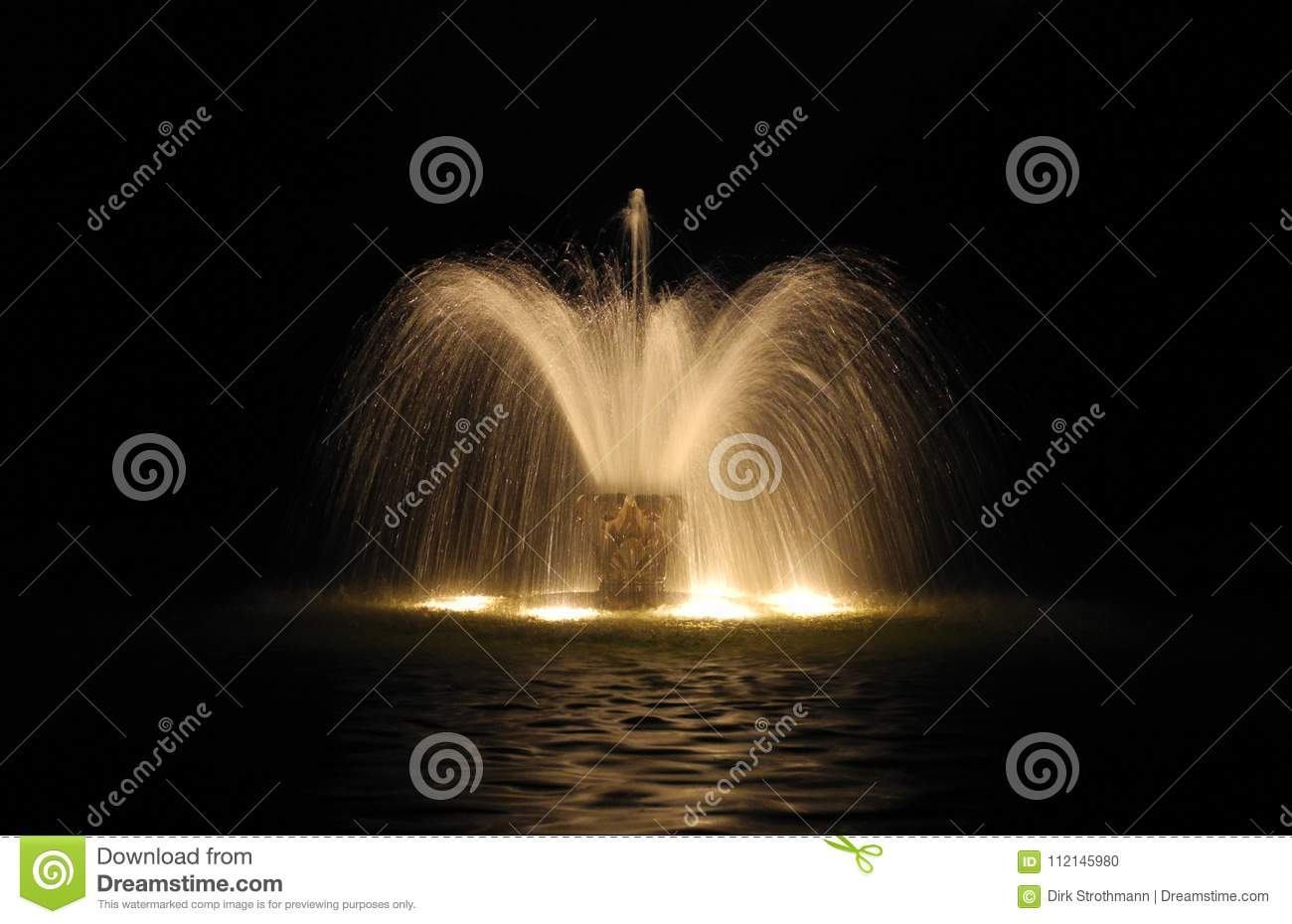 Illuminated Water Fountain At Night Stock Photo Image Of Exposure