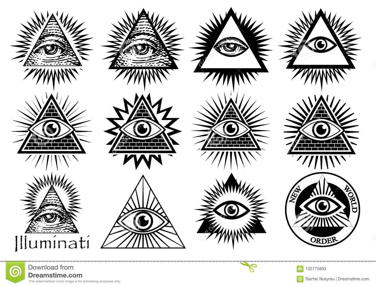 Illuminati Symbols Masonic Sign All Seeing Eye Stock Vector