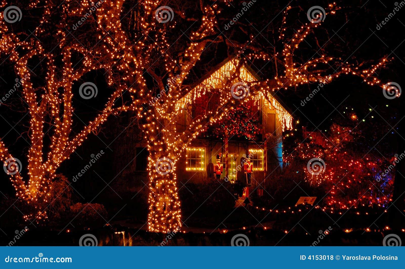 illumination de no l dans le jardin photo stock image du ext rieur no l 4153018. Black Bedroom Furniture Sets. Home Design Ideas