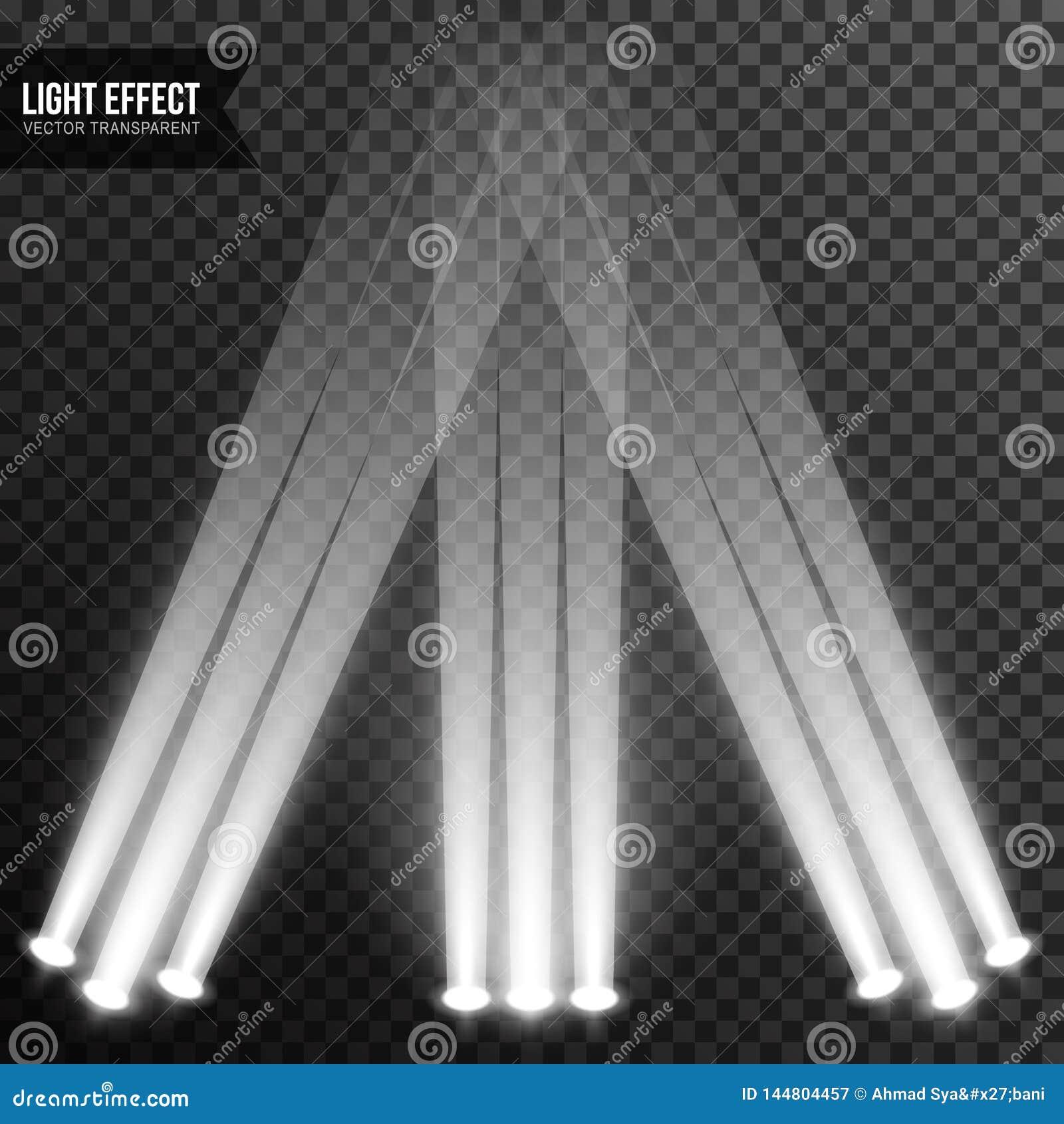 Illumination de projecteur, lumi?re lumineuse, ?tape, vecteur de podium transparent
