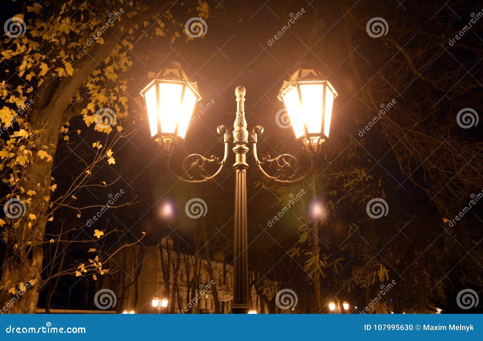 Lanterna Illuminazione : Illuminazione della lanterna di notte a odessa ucraina una lampada