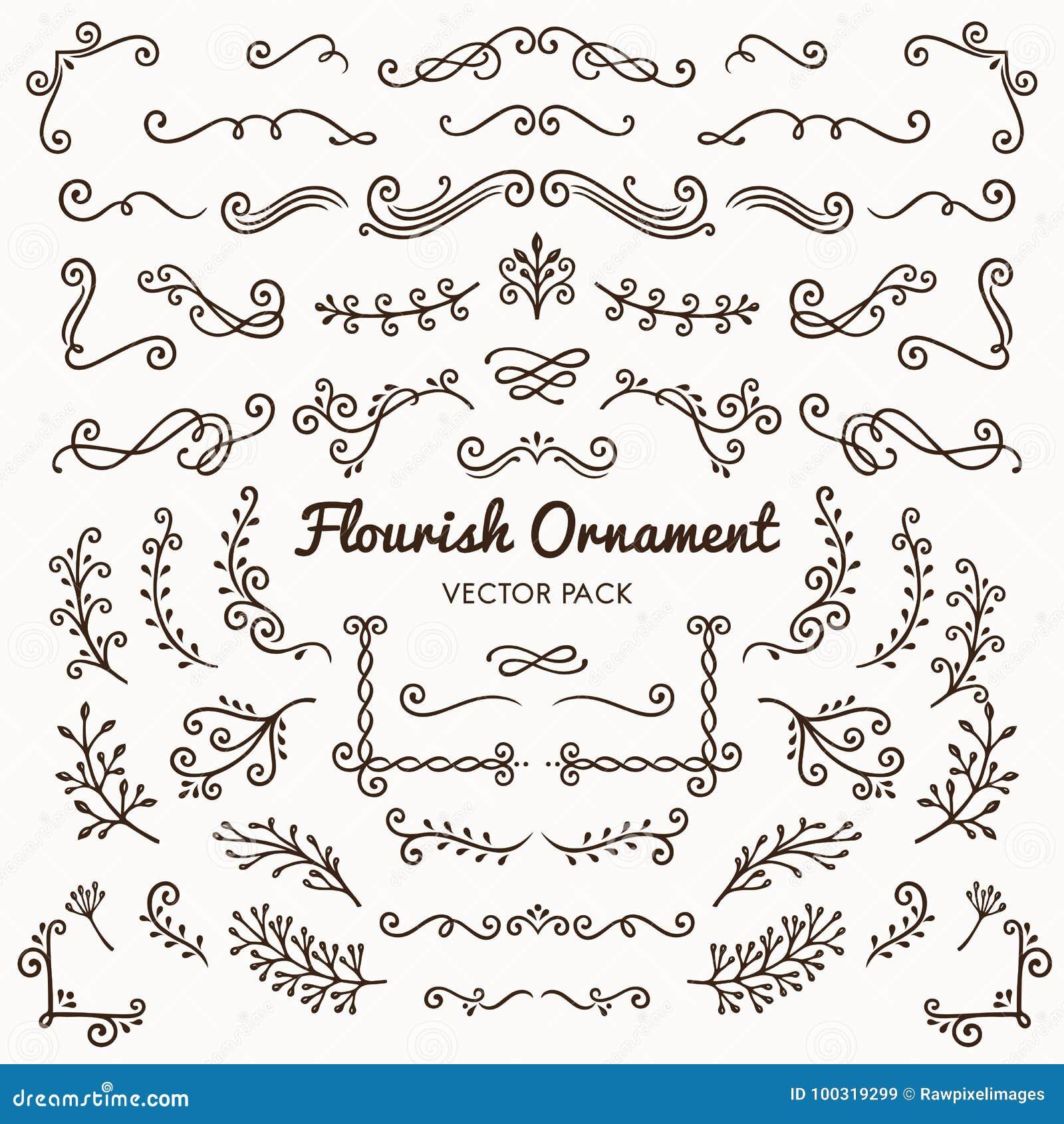 Illus determinado del diseño de los ornamentos del Flourish del vector caligráfico de los elementos