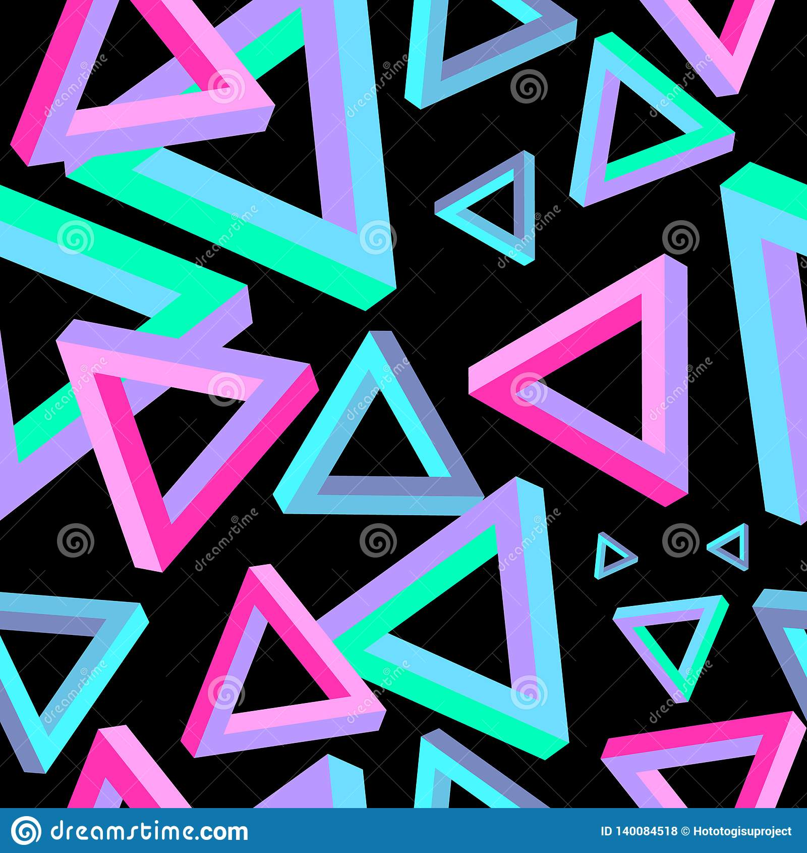 Illusion optique, modèle sans couture de triangle Triangle Penrose Triangle géométrique Dimension de triangle