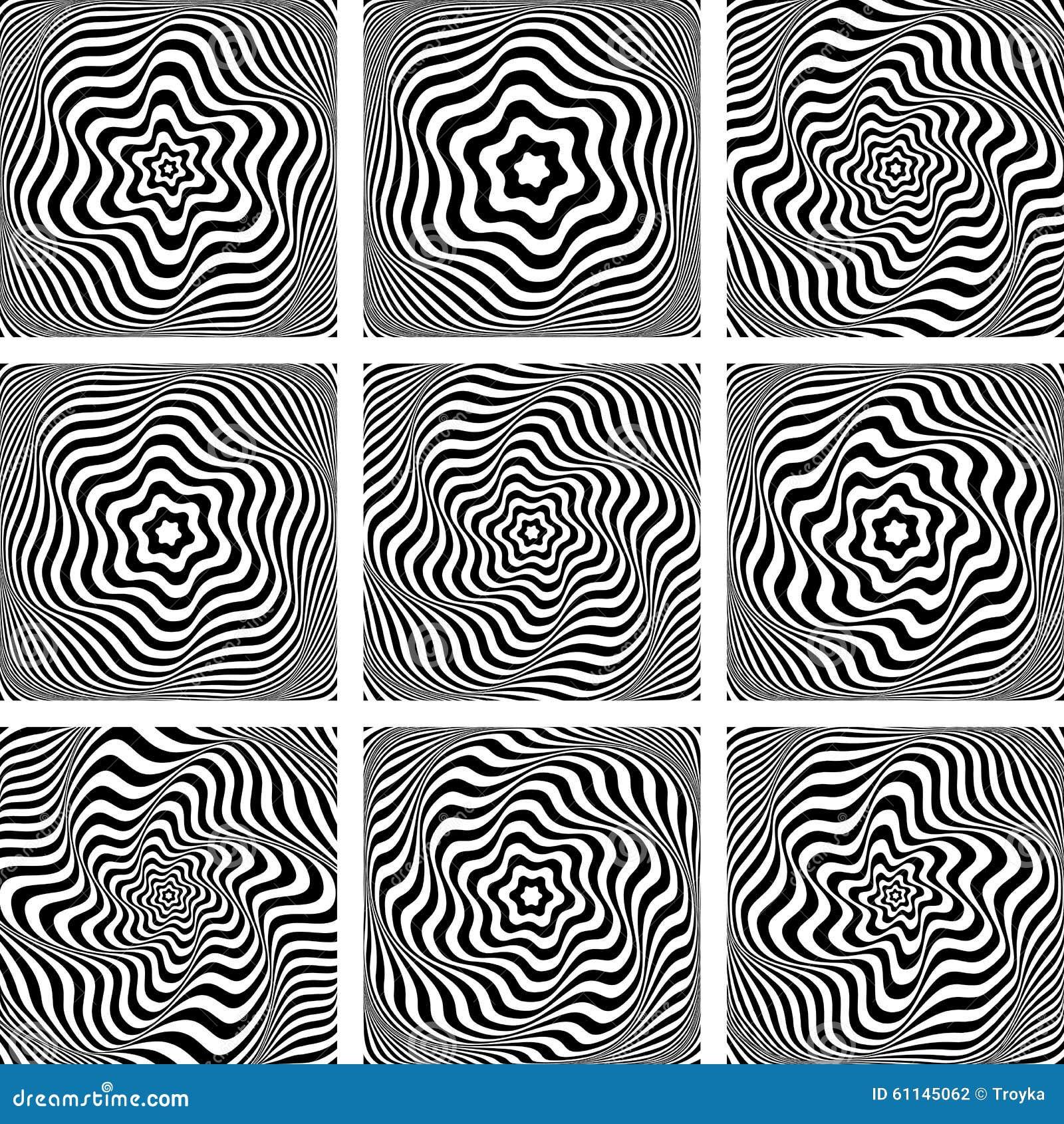 Art And Design Art Movements: Illusion Of Wavy Rotation. Design Elements Set. Stock