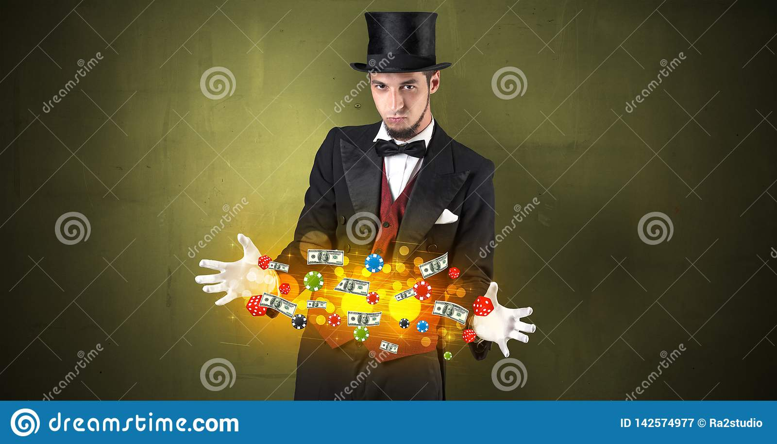 Illusionist conjure with his hand gambling staffs