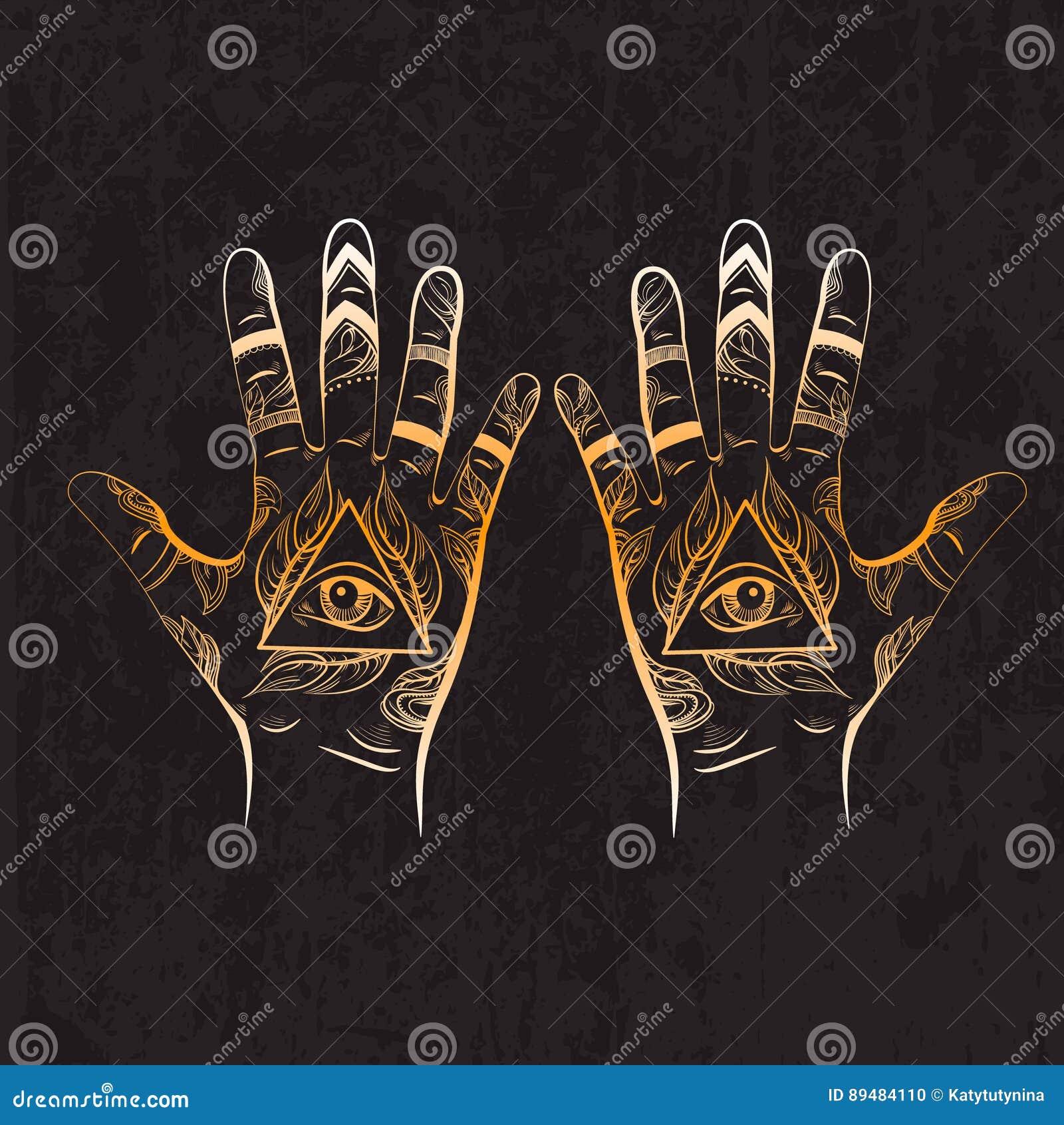 Illusitration de la mano con todo el símbolo de la pirámide del ojo que ve