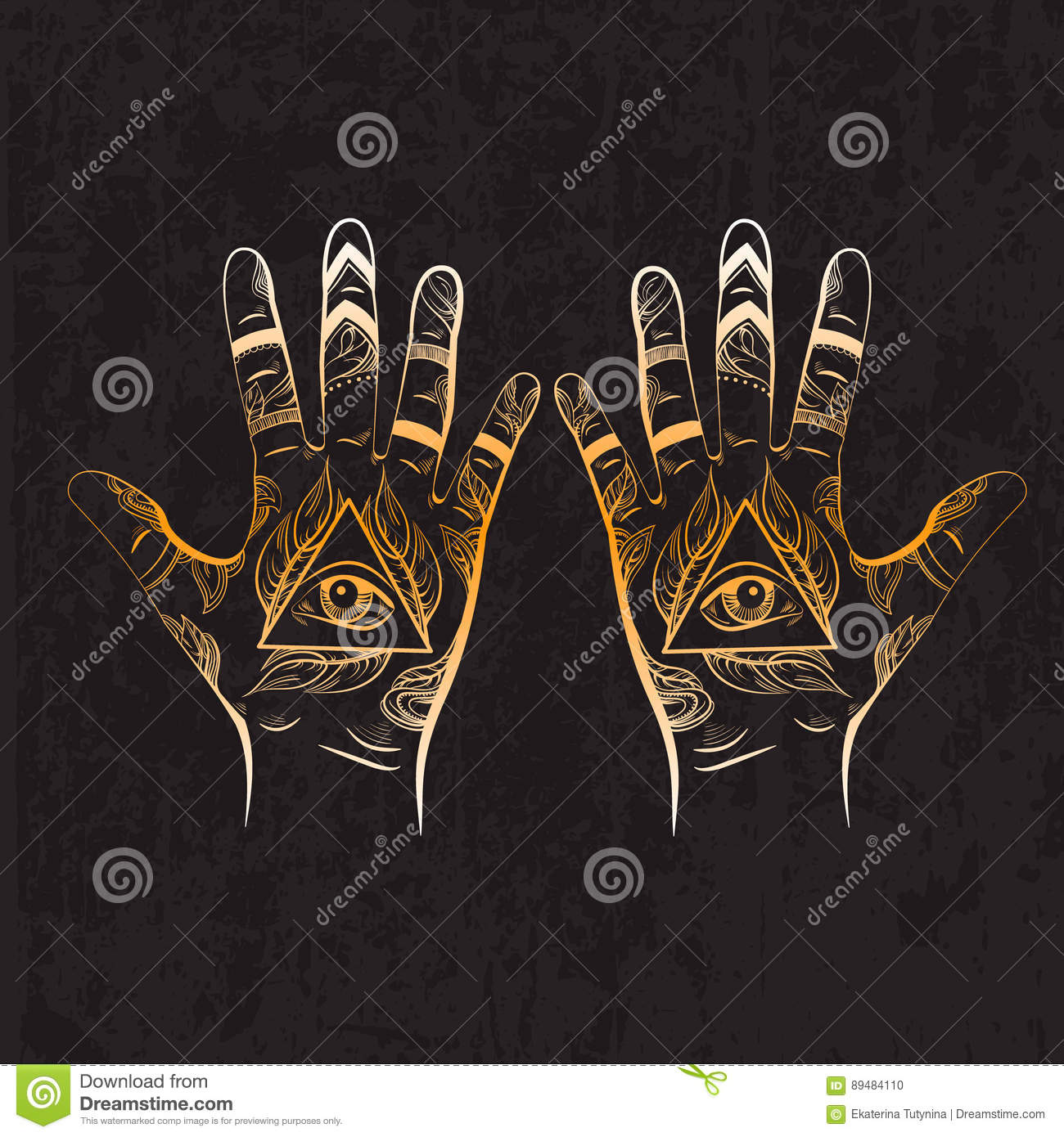 Illusitration of hand with All seeing eye pyramid symbol.