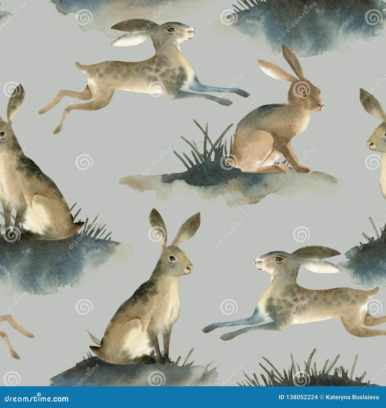 Illustartion da aquarela da lebre selvagem marrom no fundo branco Teste padrão de Seamles sobre o coelho no prado