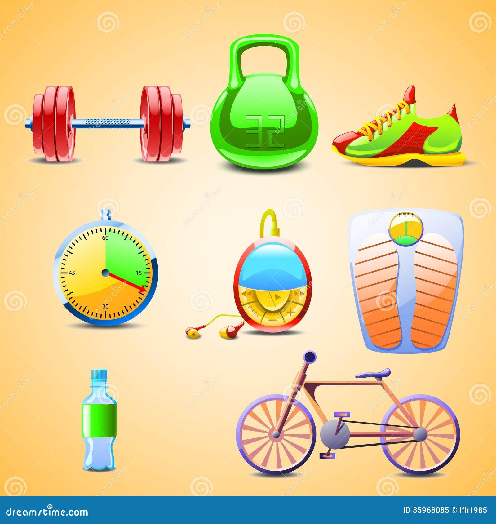 Illustraion de diversos objetos del sistema para los deportes