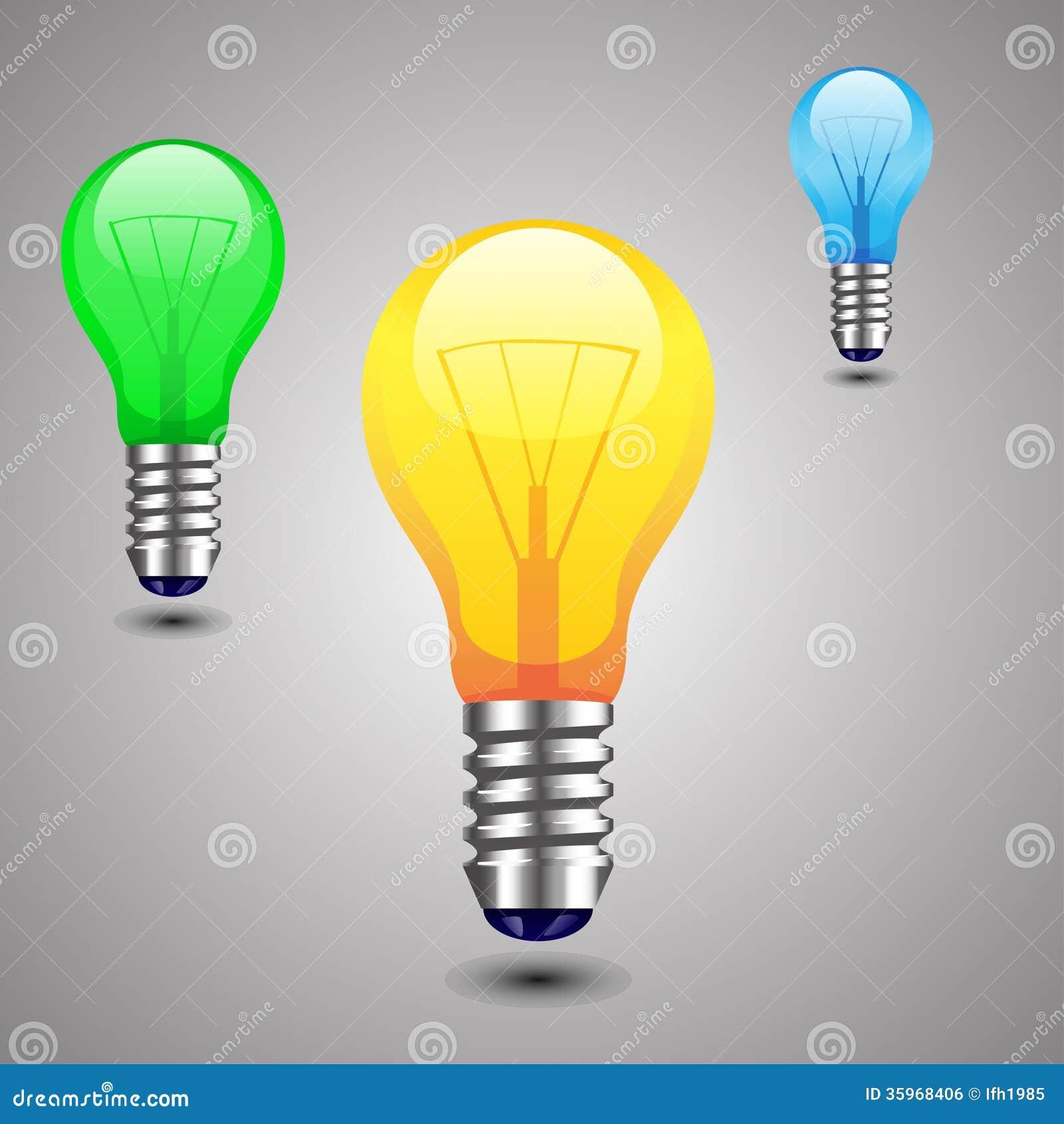 Illustraion de la lámpara coloreada que se coloca con la sombra