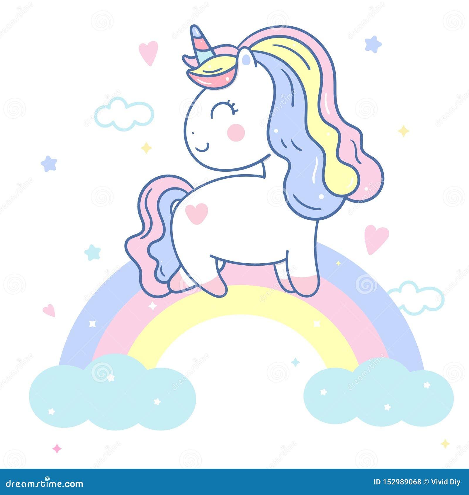 Illustratör av den gulliga enhörningvektorn på himlen och den söta regnbågen, Kawaii ponnytecknad film, klotterbarnkammaregarneri