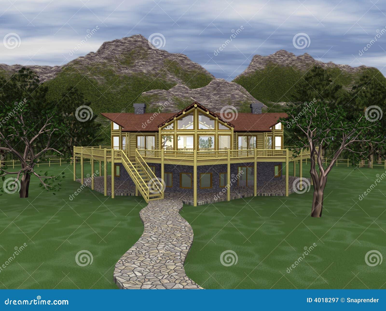 3d Log Home Illustration Stock Photo