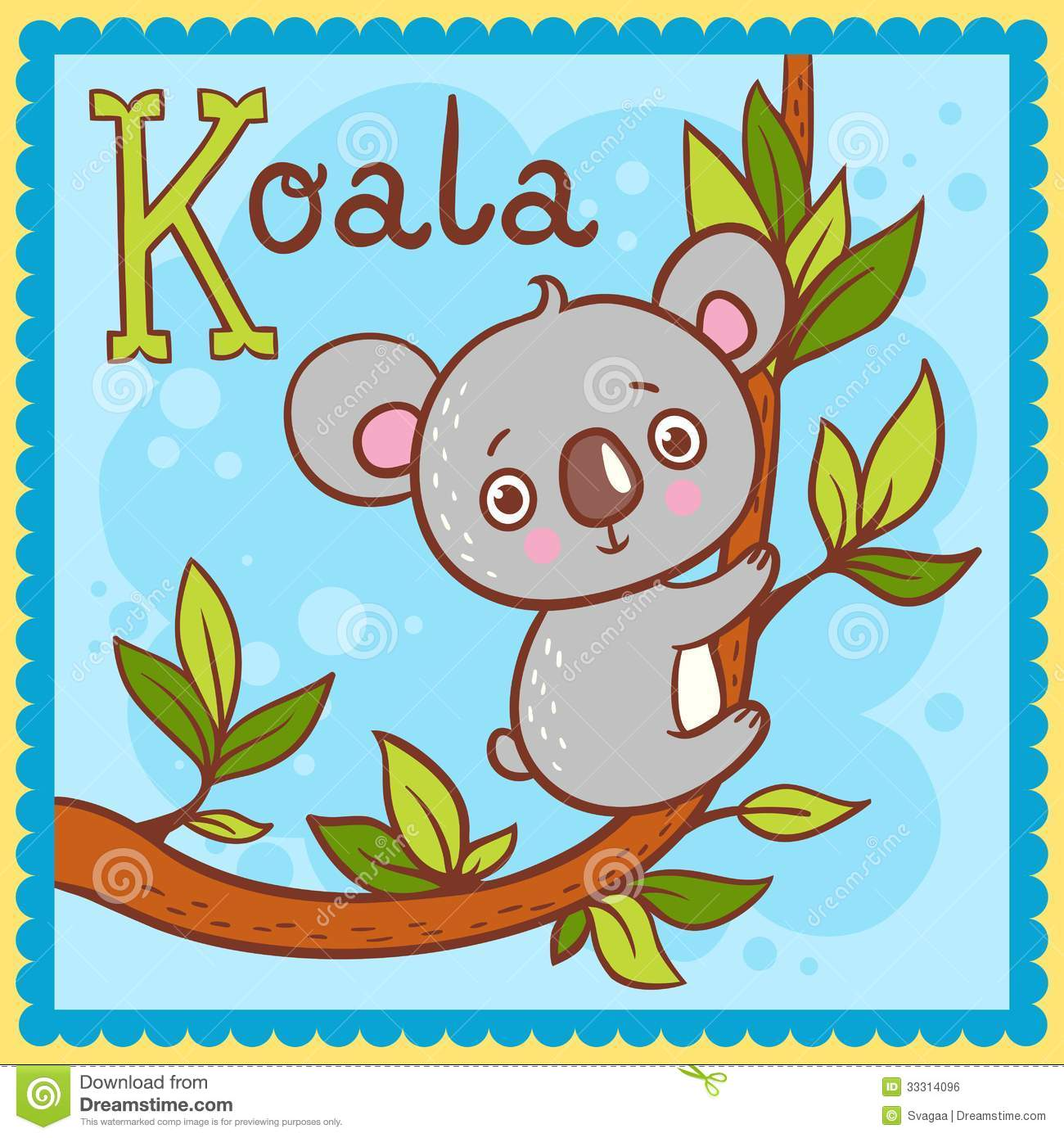 Illustrated Alphabet Letter K And Koala Royalty Free