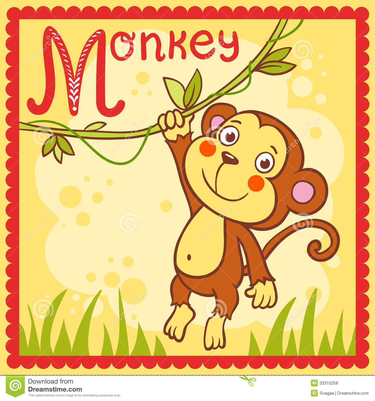 Illustrated Alphabet Letter M And Monkey Royalty Free Stock Photos