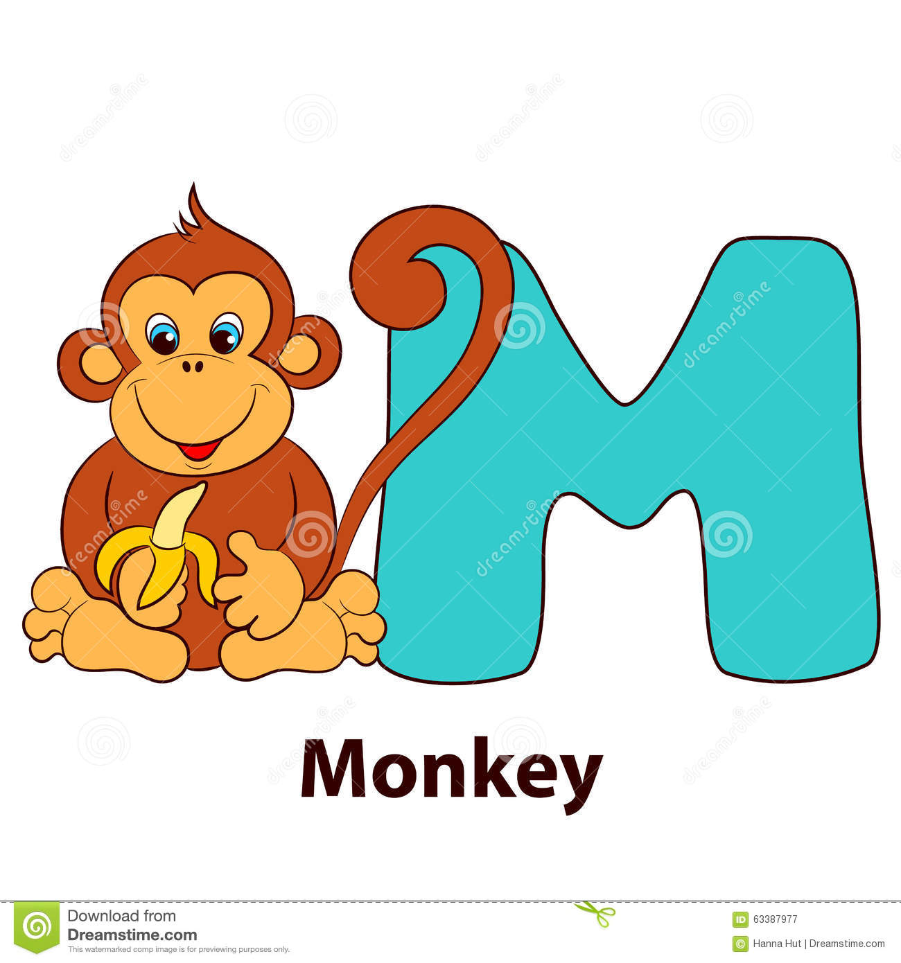 Illustrated Alphabet Letter M And Monkey. Stock Vector - Image ...