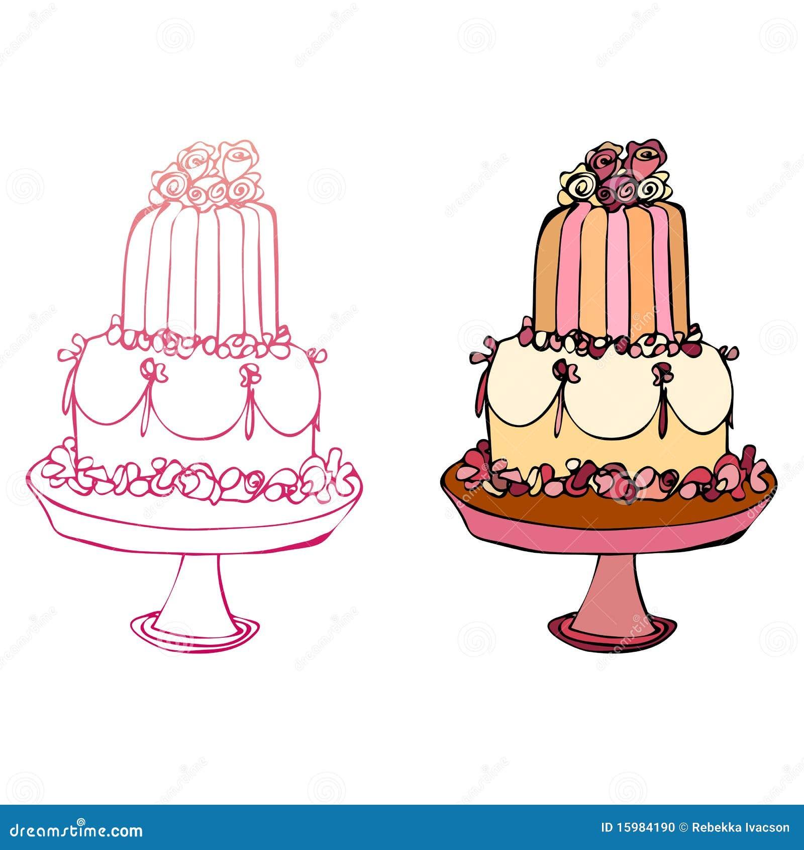 Illustrated Cake Stock Photo Image 15984190