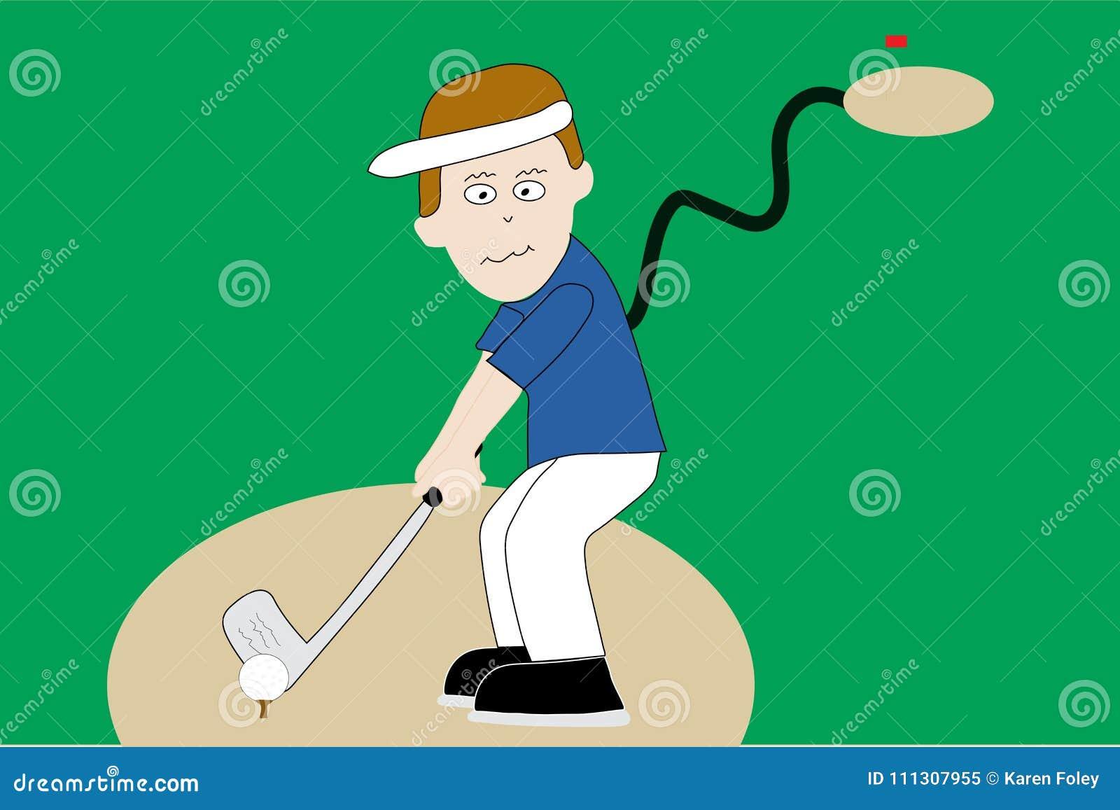 Golfer On Tee On Golf Course Stock Vector - Illustration of figure on cartoon golf club clip art, cartoon golf club swing, the step to draw a cartoon golf club, cartoon man golf club,