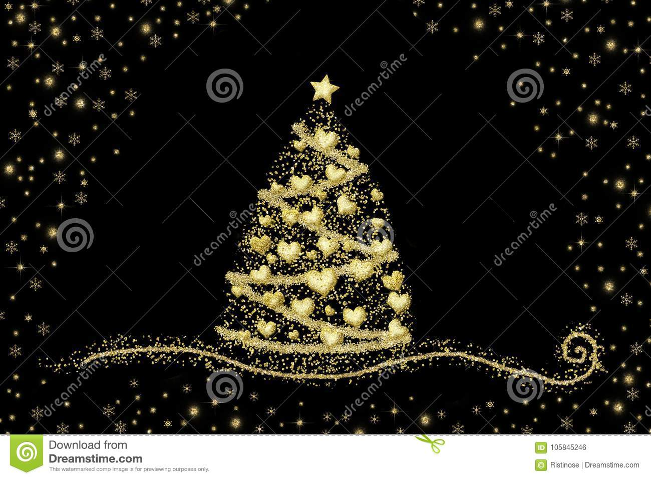 download abstract gold christmas tree hearts on black stock photo image of drawn