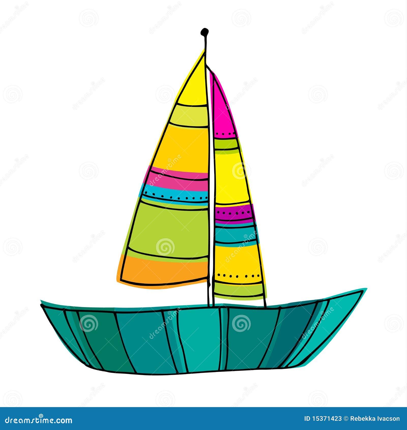 Illustrated Cute Sailing Boats Stock Vector