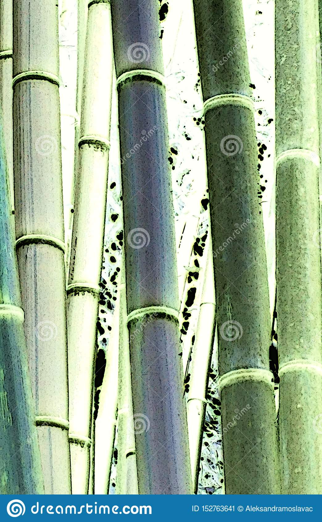 Illustrated Detail Of Bamboo Trees In Various Green Colors In The