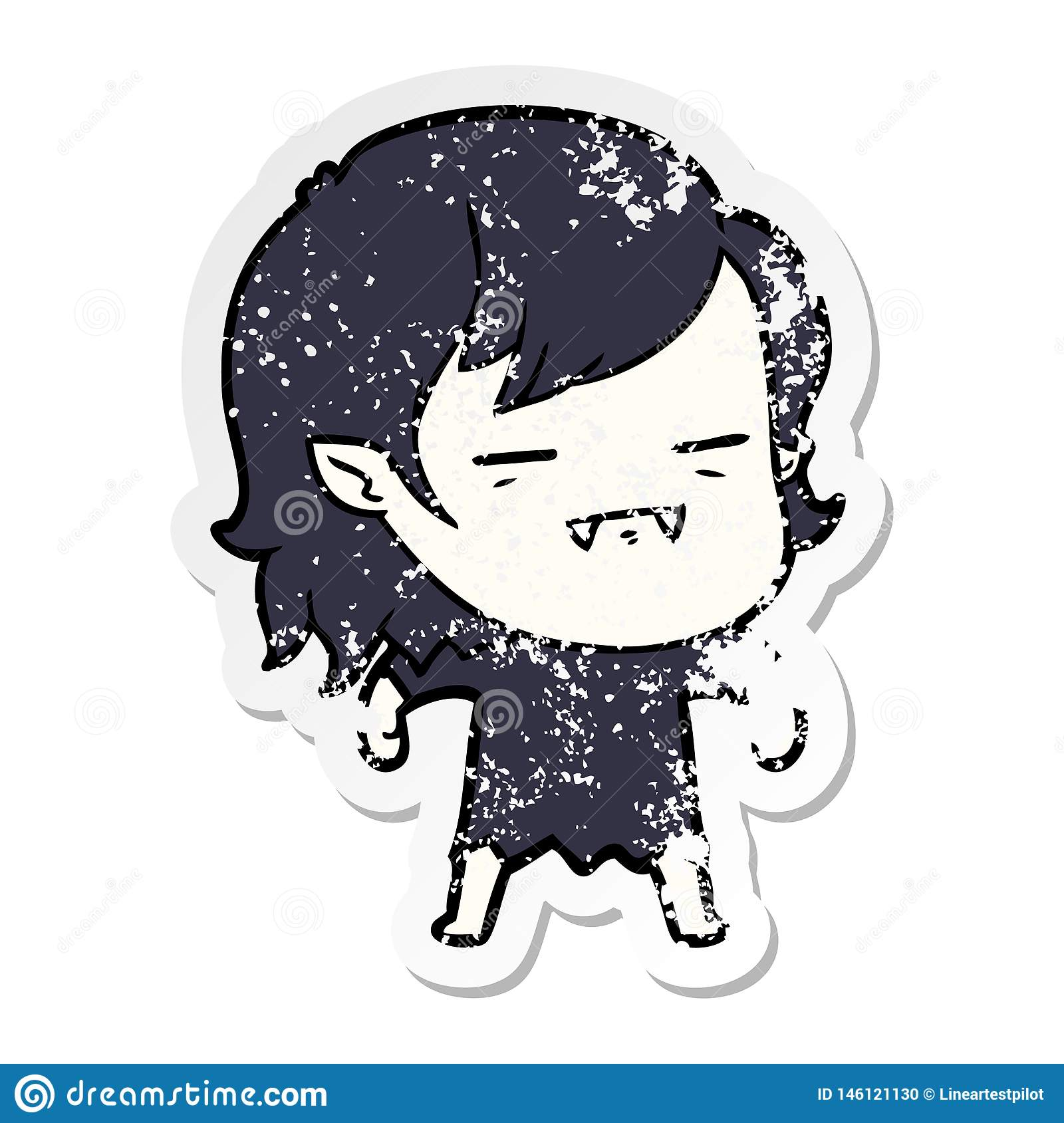 distressed sticker of a cartoon undead vampire girl