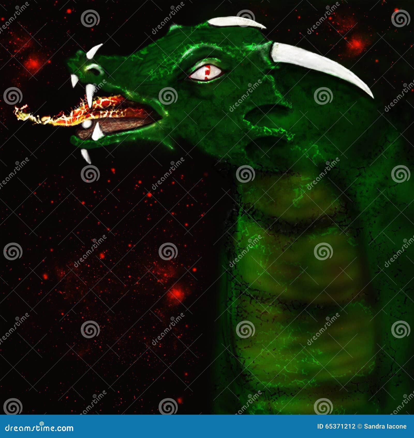 Illustrated green dragon