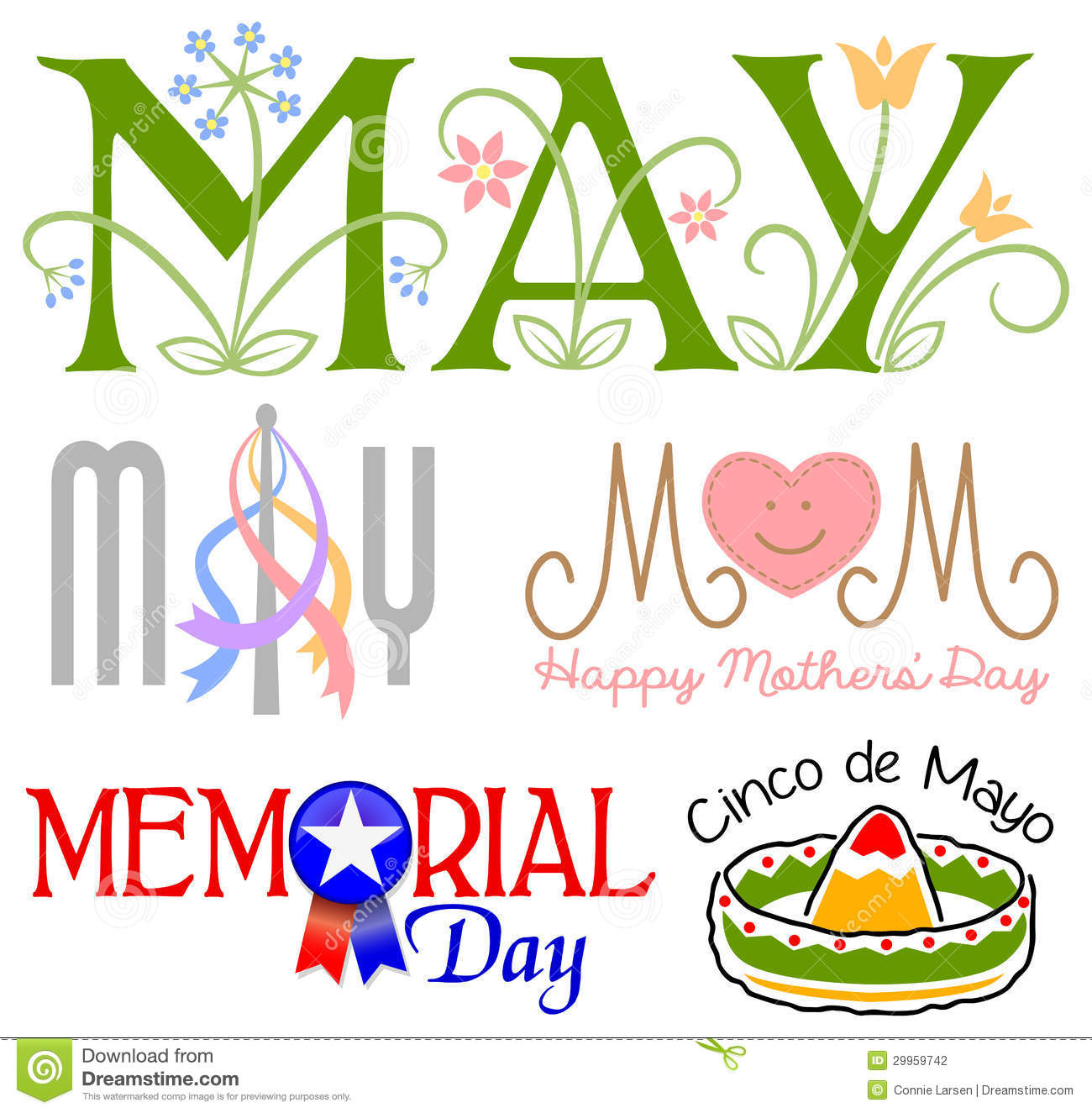 Illustrated headlines for May events including Mothers Day, Cinco de ...