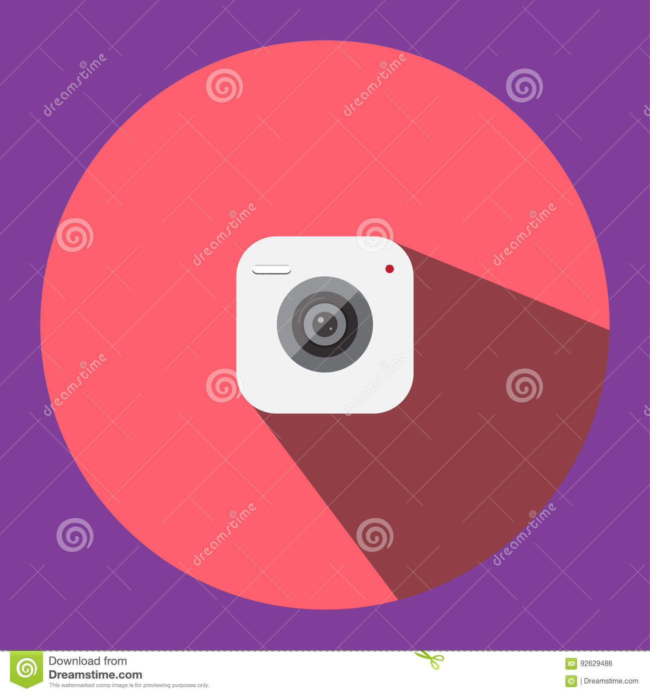 The illustrated image is a camera clip image icon can be used in various media applications.