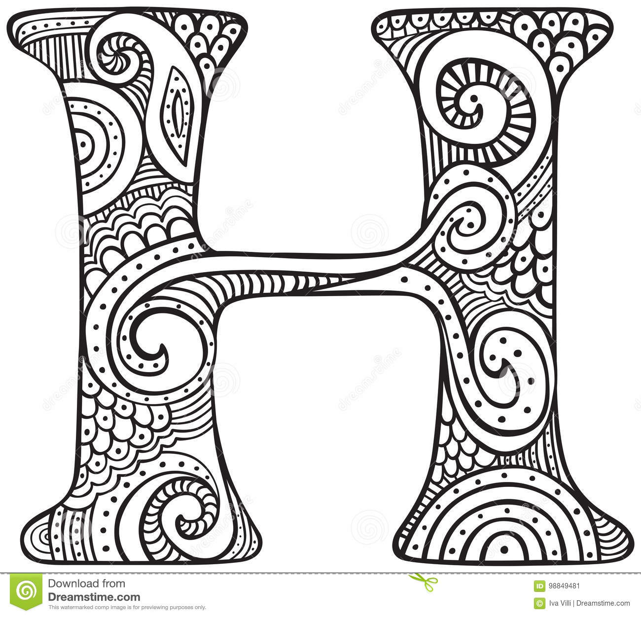 Hand Drawn Capital Letter H In Black