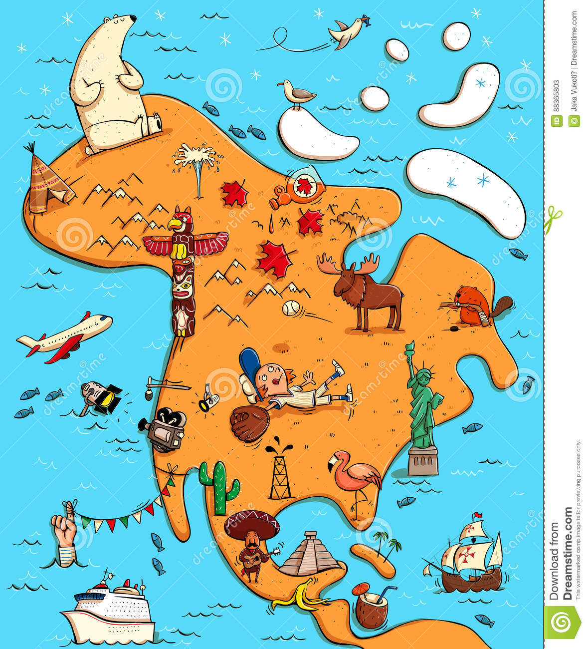 Illustrated Map Of North America Stock Vector Image - Map of north america