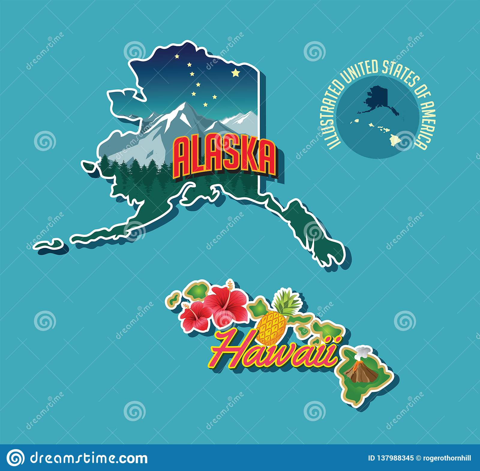 Illustrated Pictorial Map Of Alaska And Hawaii Stock Vector ...