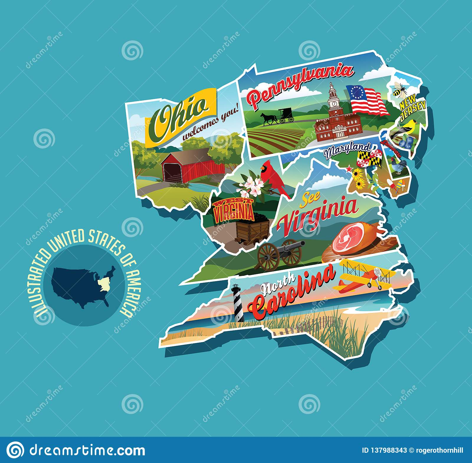 Illustrated Pictorial Map Of Eastern United States. Stock Vector ...