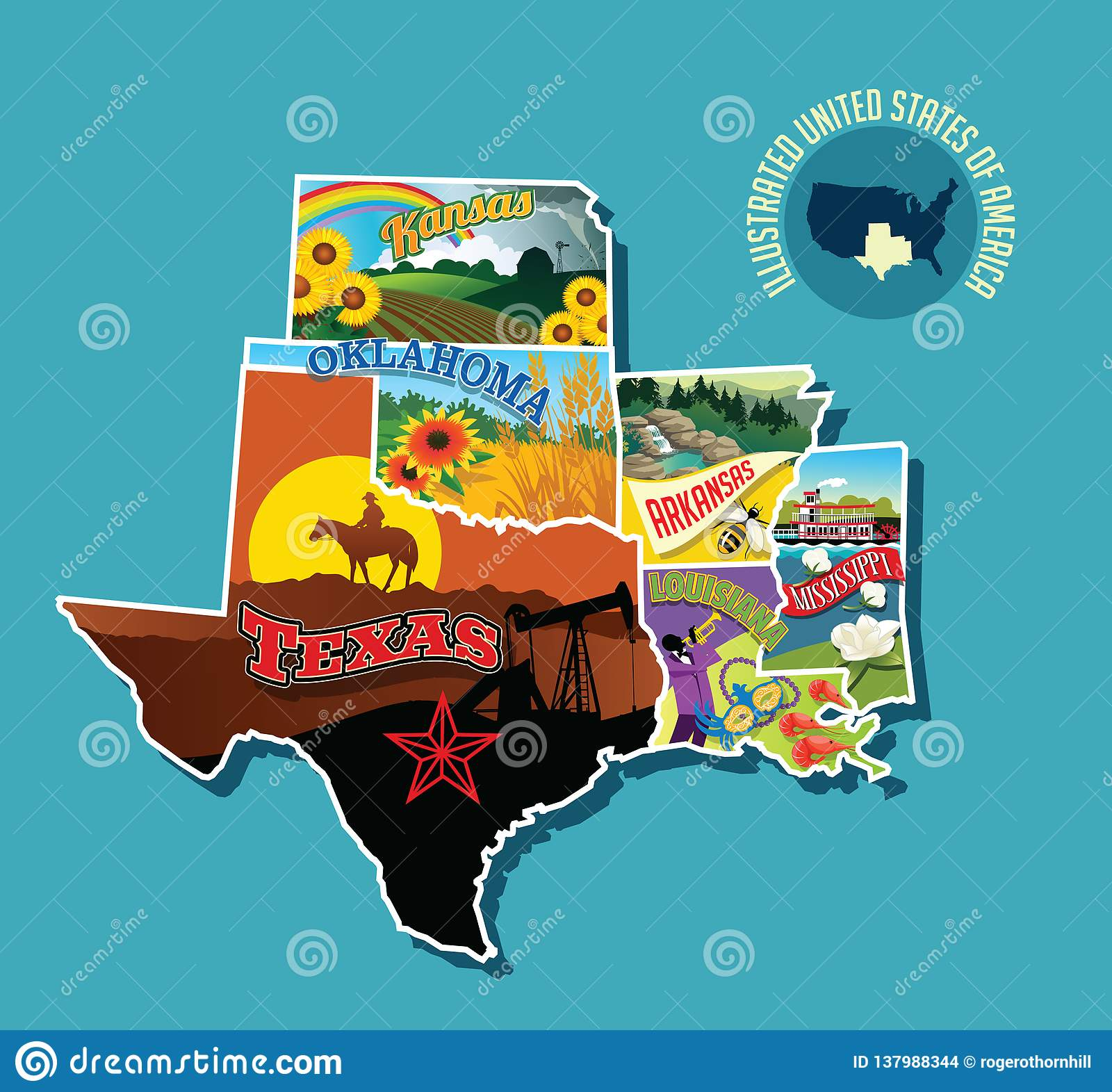 Map Of Texas Oklahoma And Louisiana.Illustrated Pictorial Map Of South Central United States Stock