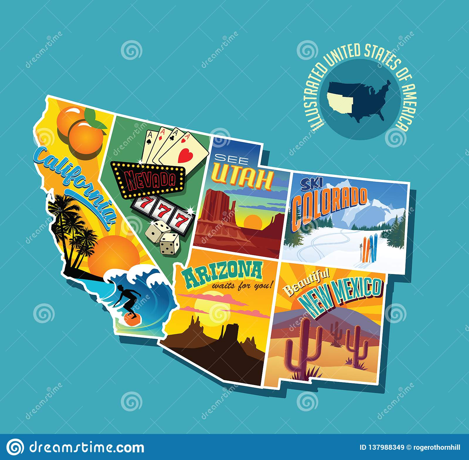 Illustrated Pictorial Map Of Southwest United States. Stock ...