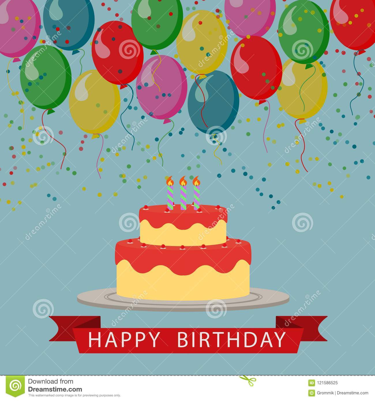 Illustrated Picture Birthday Greetings With Balloons Cake And