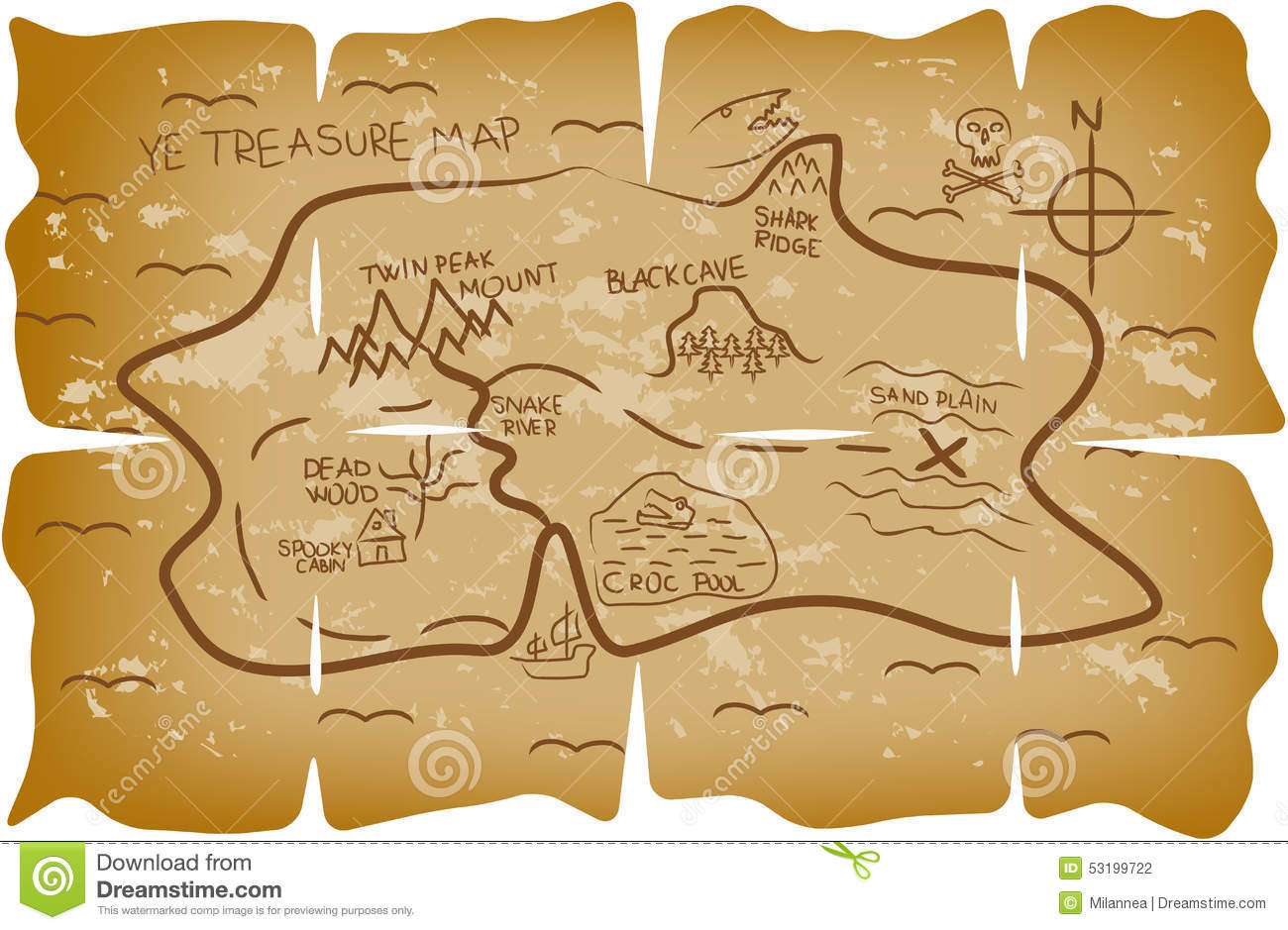 Illustrated Pirate Treasure Map Stock Vector - Image: 53199722