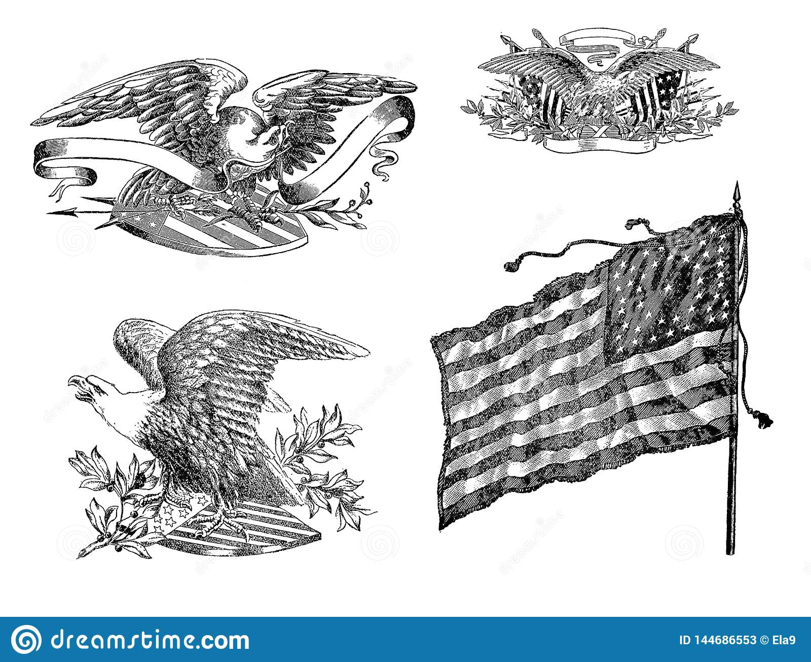 American flag and eagles